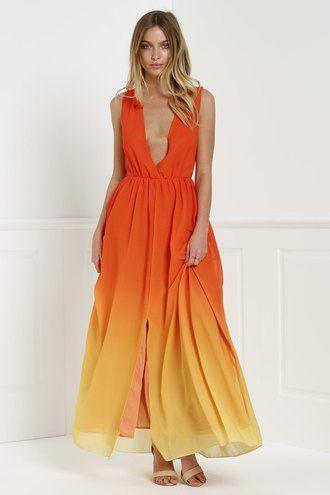 Yellow orange maxi dress