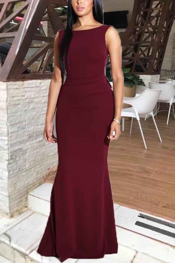 fea82f1ba8 Sexy Bare Back Sleeveless Pure Colour Fishtail Dresses #eveningdresses  #eveningdressesgorgeous #dresses