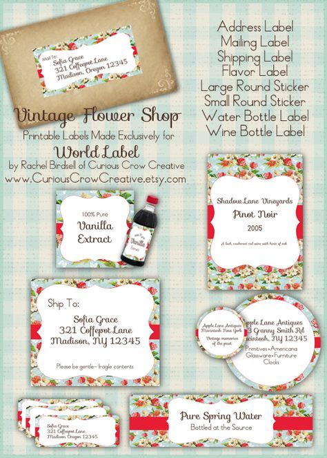 Vintage flower shop labels in FREE printable editable PDF templates. Address, Flavor, shipping, water bottle labels and more. Including Journal Notes. Designed bu Curious Crow Creative. Download at blog.worldlabel.com