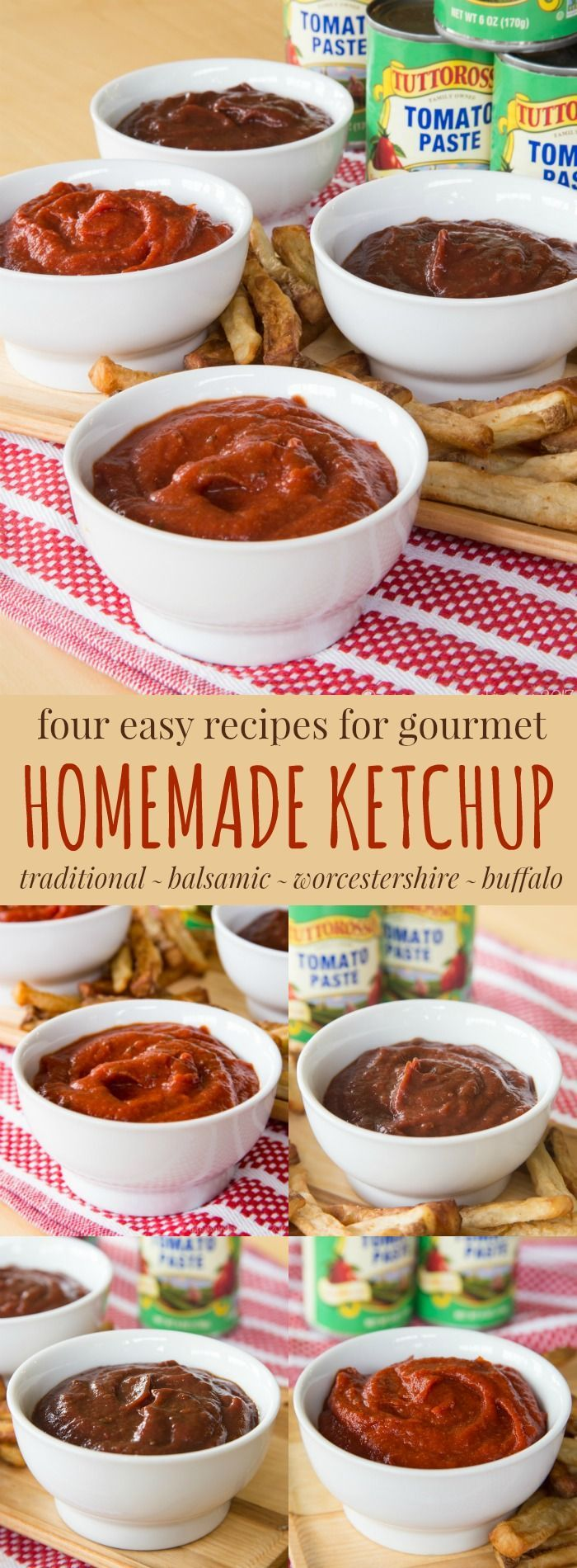 4 Easy Recipes for Gourmet Homemade Ketchup - it takes just minutes to make homemade condiments. Traditional, Balsamic, Worcestershire and Buffalo Ketchup recipes start with a can of @tuttorosso tomato paste. #ad