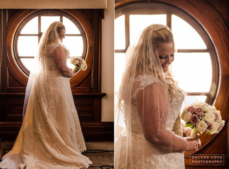 Beautiful bride in front of round window  - Dallas Love Photography