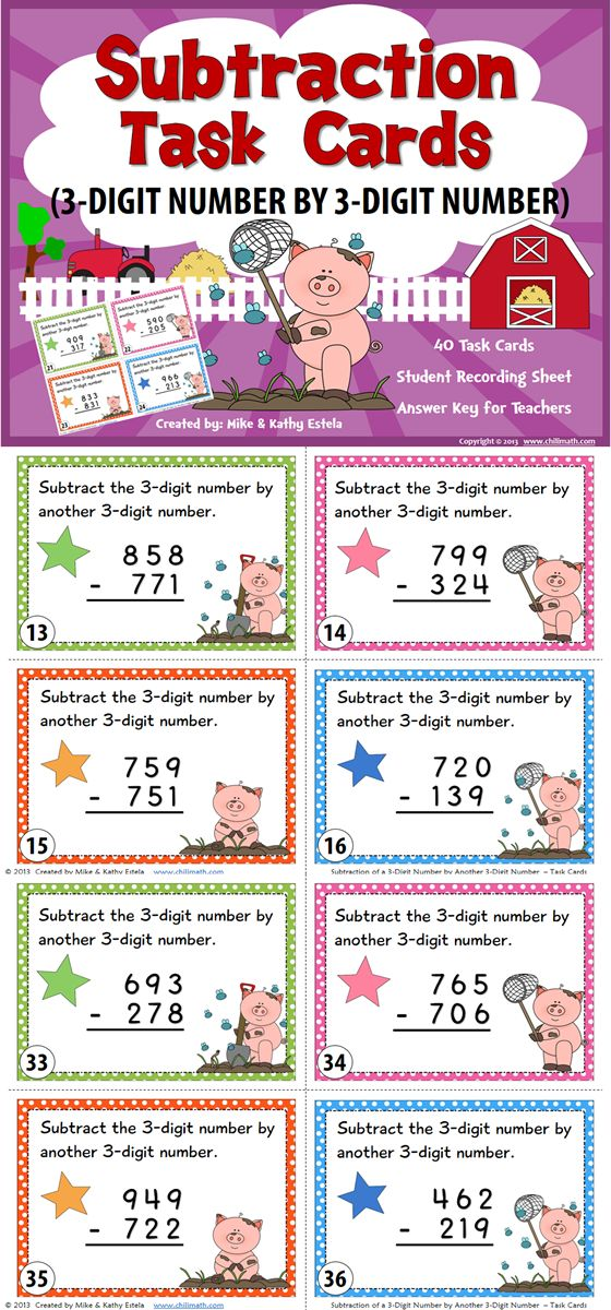 ON SALE NOW!!! This set includes forty (40) task cards intended to help students review or practice their skills on how to subtract a 3-digit number by a 3-digit number (with and without regrouping).