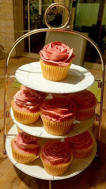 Strawberry Cupcakes with Raspberry Buttercream