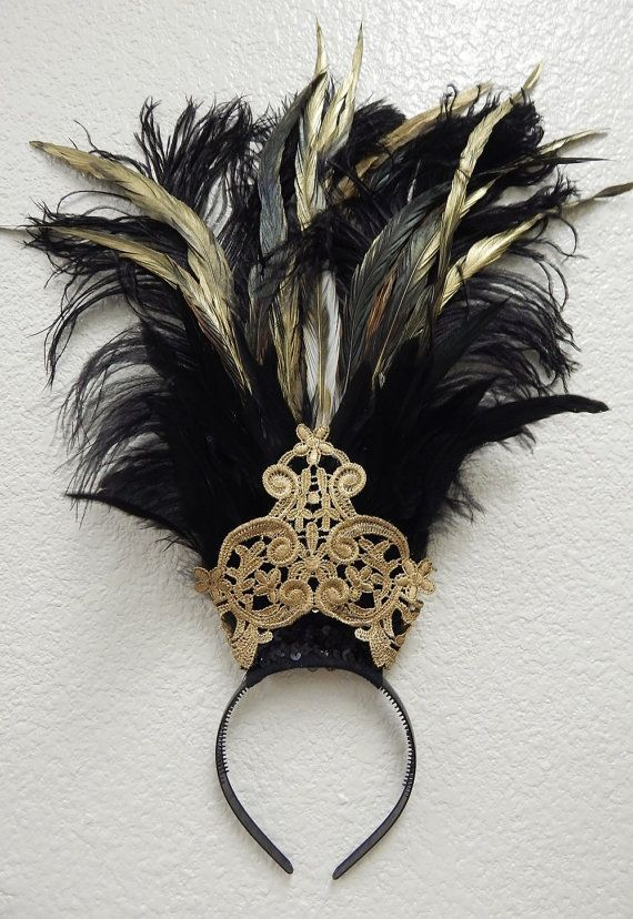 Egyptian gold black Ostrich Feather Belly Dance by sajeeladesign