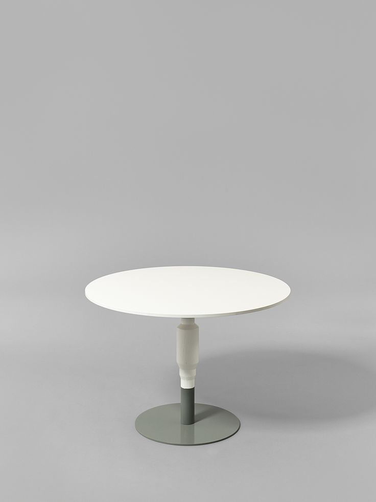 Minus tio - Cosmos 530mm wood pedestal table in white with 800mm diameter table top and grey base