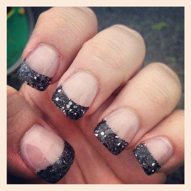 Black glitter tip acrylic nails