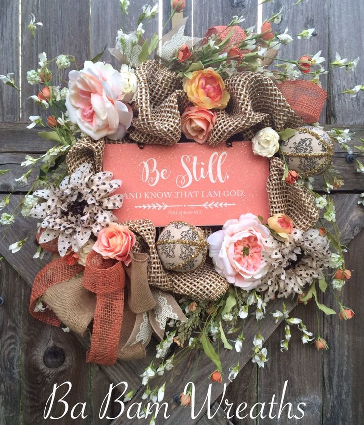 Everday Wreath, Burlap Wreath, Scripture Sign, Christian Wreath, Religious Wreath, Summer Wreath, Mothers Day Gift by BaBamWreaths on Etsy