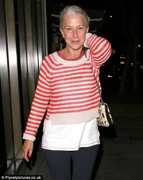 She's a natural! Dame Helen Mirren braves stepping out bare faced for dinner date with husband. She looks amazing.
