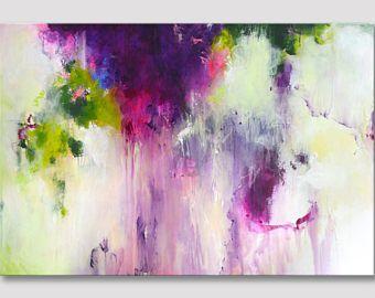 Original de gran tamaño pintura acrílica abstracta, obras de arte moderno de XXL, arte colorido, colores atrevidos, frambuesa rosa amarillo verde en lienzo