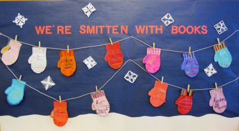 "library bulletin boards for winter | Smitten"" With Books"