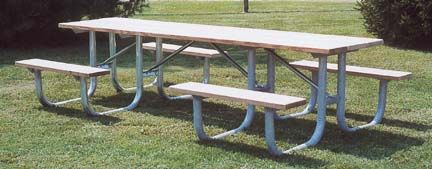 10' Wheelchair Accessible Extra Heavy Duty All Welded Picnic Table With 2 Legs and Top of Aluminum Planks #Sport #Football #Rugby #IceHockey