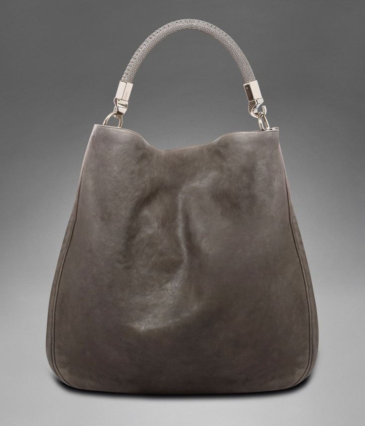 Large YSL Roady in Grey Polished Leather with Stingray Handle ...