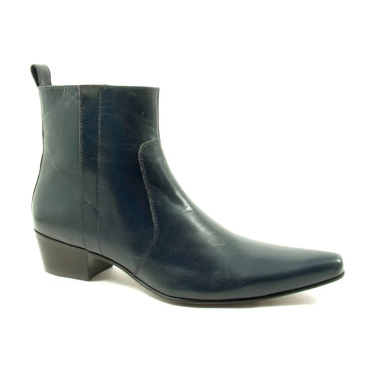 Mens navy heel boots in leather. Gucinari has many colours and styles in cuban heel boots.