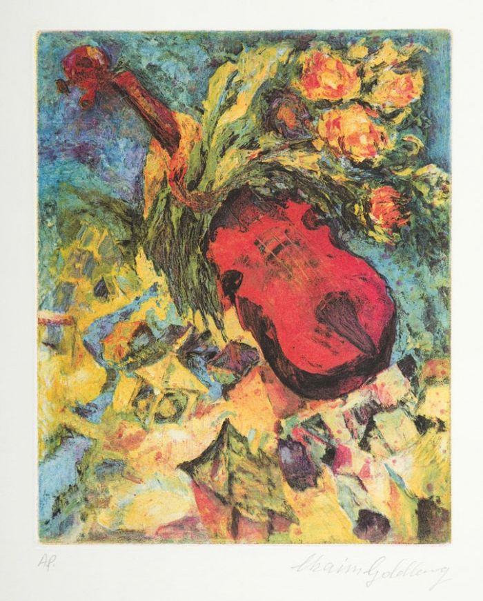 Chaim Goldberg - Skrzypce i kwiaty lecące nad Kazimierzem