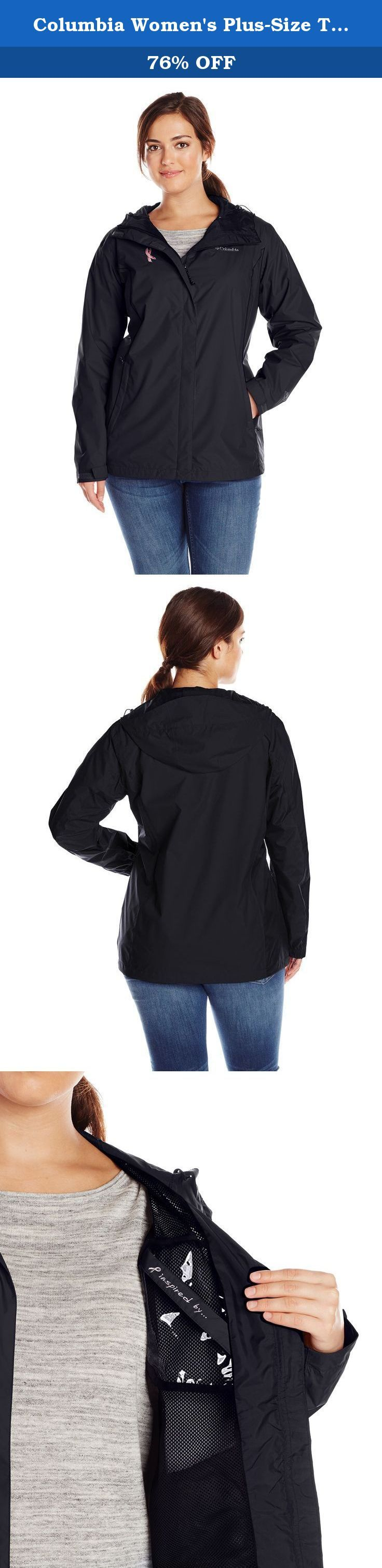 Columbia Women's Plus-Size Tested Tough In Pink Rain Jacket II Plus, Black, 3X. Helping fund the national breast cancer foundation's key prevention programs, this sleek rain jacket is waterproof and fully seam-sealed, with an interior inspiration pocket that sits right over your heart.