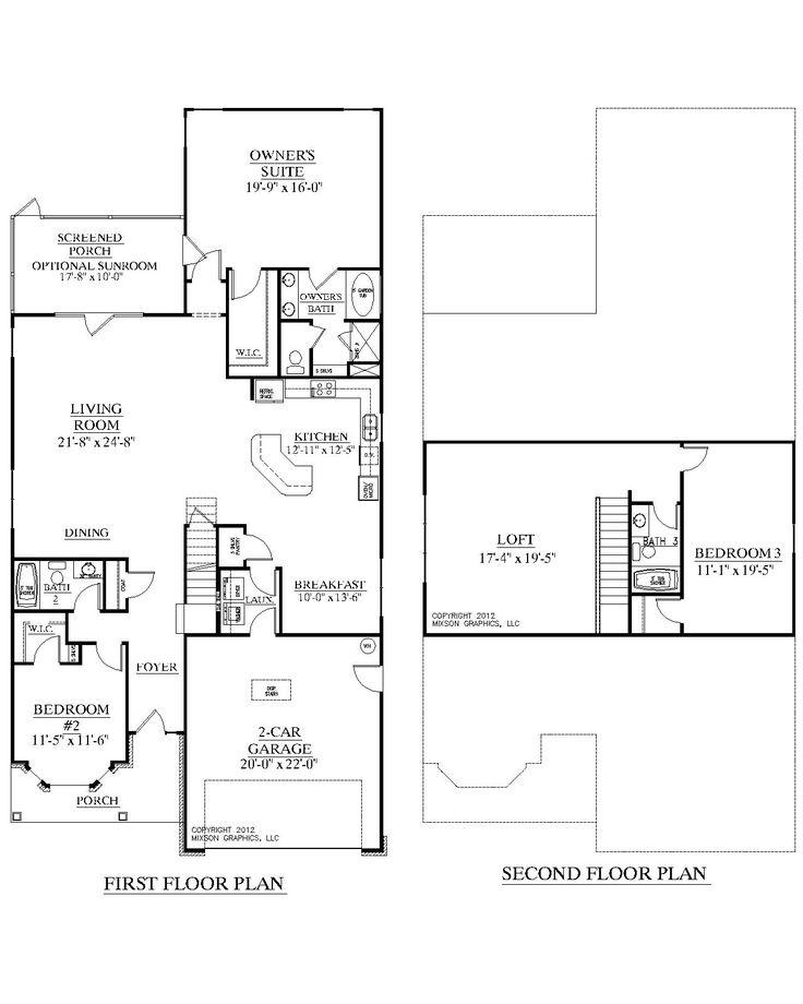 House Plan 2632 Azalea Floor Plan Traditional 1 1 2