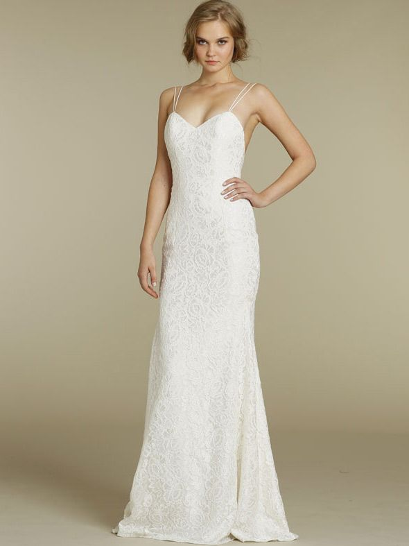 Fabulous fitted slim lace sweetheart wedding dress with spaghetti straps