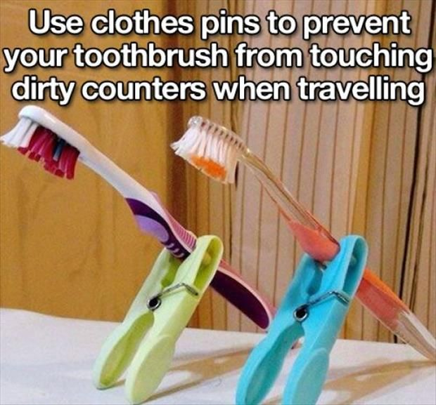 Use clothespins to prevent your toothbrushes from touching dirty counters while traveling.