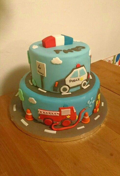 Police car, fire engine cake.