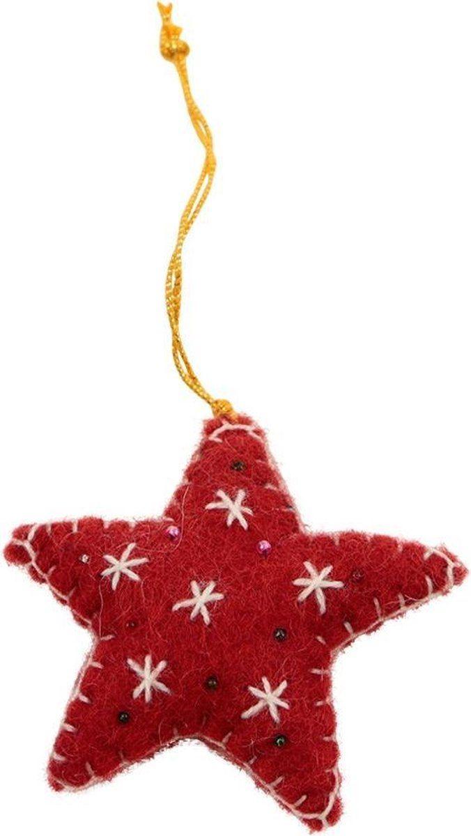 Hanger Kerst Decoratie Vilt Kerst Ster Rood 15x7x2cm Nepal Fairtrade Kerst Ornament Decoratie Kerst