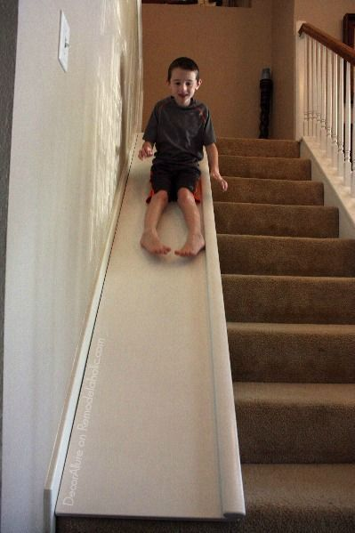Amazing and SO FUN! Add a slide to your stairs. Fun for the kids, plus it's easily removable for when you need the full width of the stairs to move furniture, or to move it to a new house! Tutorial from DecorAllure on http://Remodelaholic.com
