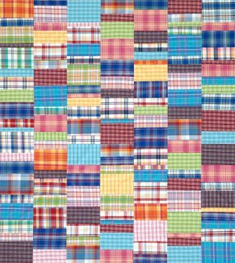 Plaids in happy, bright colors form a whimsical quilt. Though the plaids give the throw a complex look, it is simply rows of rectangles in five sizes sewn together in a random order.