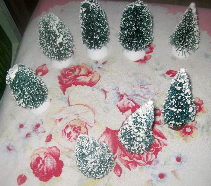 Bottle Brush Christmas Trees Dept 56 Village & Vintage Flocked Trees Hedges * 8