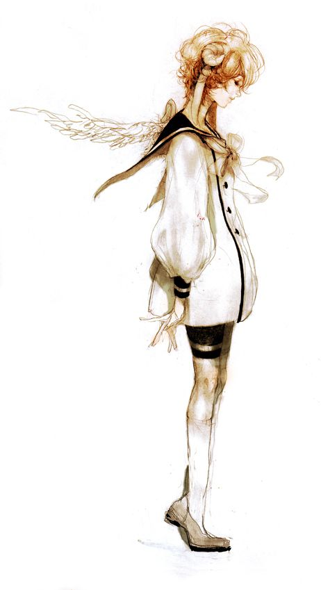Tags: Anime, Knee High Socks, Hitsujimimi, Sailor Suit, Unnaturally White Skin, Puffy Sleeves, Feather Wings #hybrid #horns