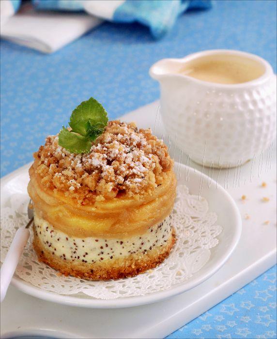 Яблочный пирог с творогом и маком