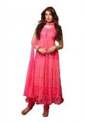 Designer dark pink Net & Brasso Anarkali Suit Rs.699 on http://www.vendorvilla.com/