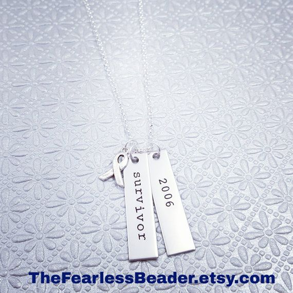 Survivor Necklace with Remission Date Cancer by TheFearlessBeader