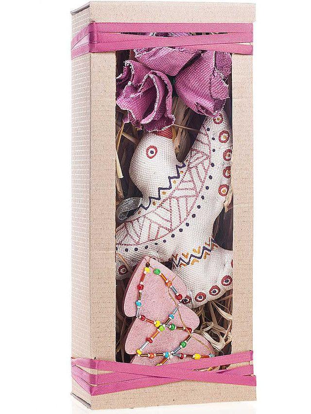 Новогодний подарочный набор Жар птица. Елочные украшения ручной работы. Ткань, дерево, бисер, роспись