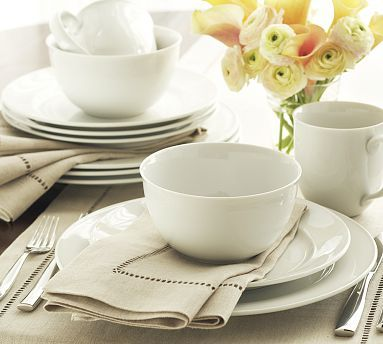 Thinking of changing to this dinnerware, love the classic and simple elegance....    Great White Traditional Dinnerware #potterybarn