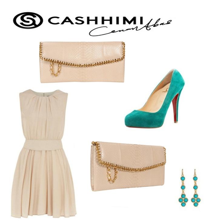 Cashhimi White  DOHENY Python Clutch