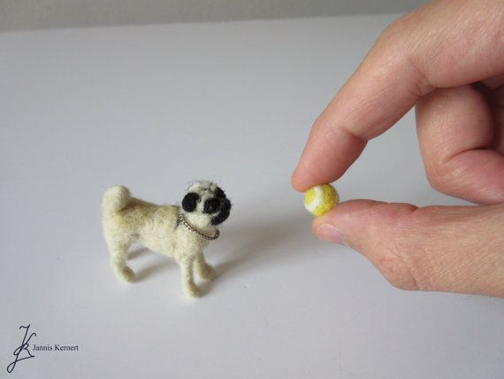 Needle Felted Pug Dog in Scale 1:12 by KernertJuergeneering