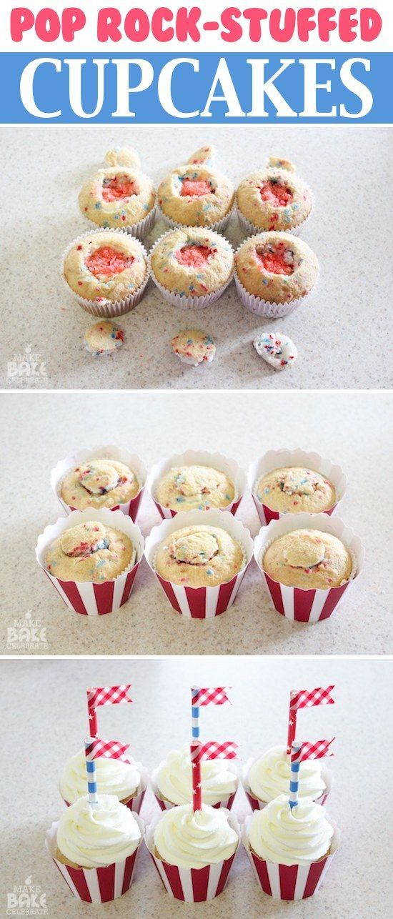 4th of July Pop Rock Stuffed Cupcakes ... just imagine taking a bite out of these pop-rock stuffed cupcakes, like biting into Fireworks :) ... The best surprise cupcake, EVER! these would be a real hit for a Fourth of July party ...  The key would be to make sure nobody knew what was inside! Hehe. You could also do them in a different color and theme for just about any celebration. The kiddos would especially get a hoot out of them ~Crystaline