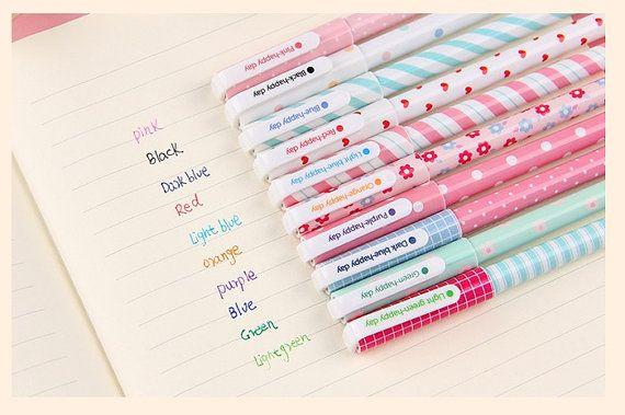 10 colors pen set rainbow colors pen Ten colors gel pens colorful pen cute pen life planner accessories cute stationery gift scrapbook