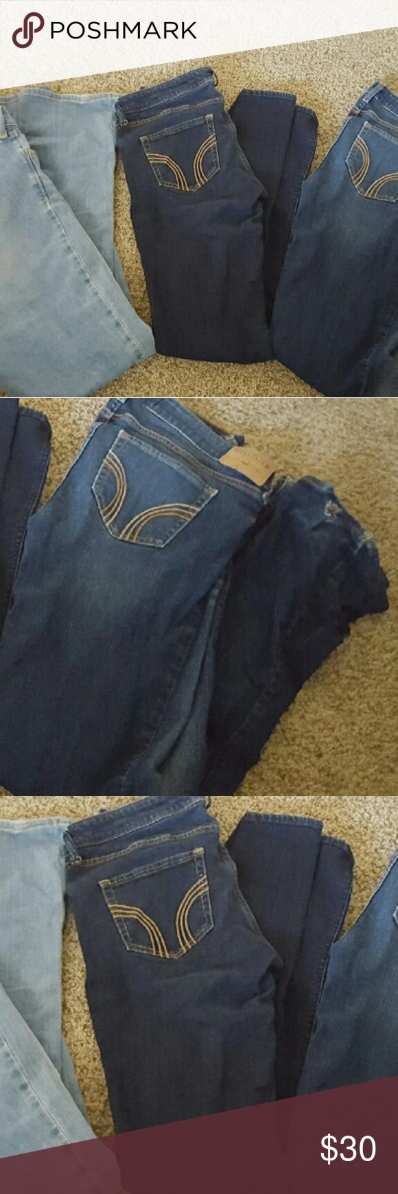 Hollister Jean bundle Hollister jeans size 9L, 2 boot cut and 1 skinny. The dark boot cut pair has wear and tear at the bottom by the ankle. $30 for all 3 pairs Hollister Jeans Boot Cut