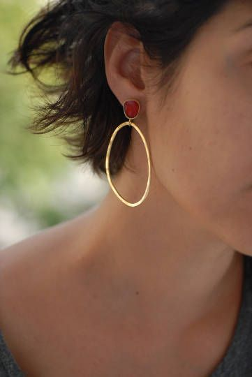 golden hoops, mismatched earrings, teardrop earrings, golden plated bronze, silver earring pins,pink resin, statement hoops, unique gifts by VickyKyritsi on Etsy