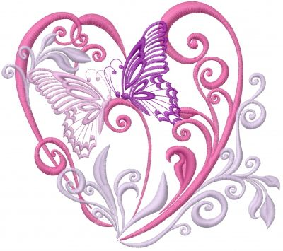 Valentine Butterfly embroidery design