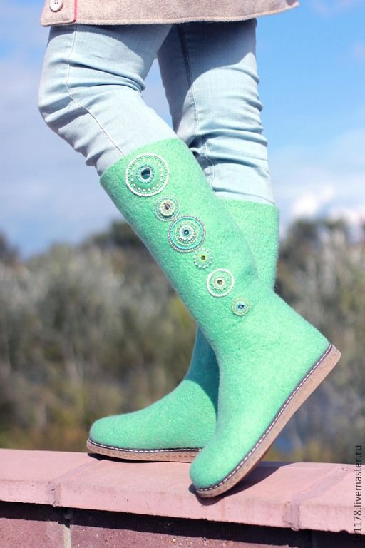 """Купить Валенки """"Мятные леденцы"""" - мятный, мятные валенки, зеленые валенки, зеленая обувь"""