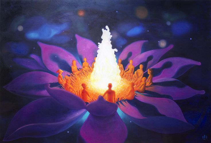 Oil painting - visionary spiritual ayahuasca psychedelic
