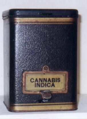 Tin Apothecary Container :   A bulk tin container that was used in an old drug story to story bulk cannabis