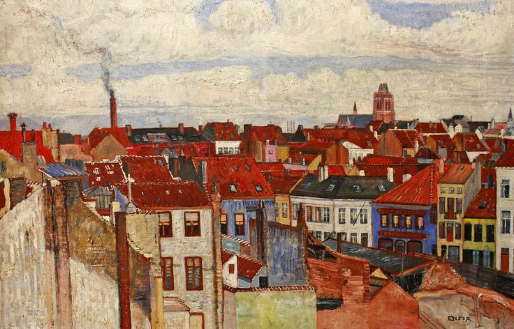 James Ensor (Belgian, 1860-1949), De daken van Oostende/Roofs of Ostend, 1901.