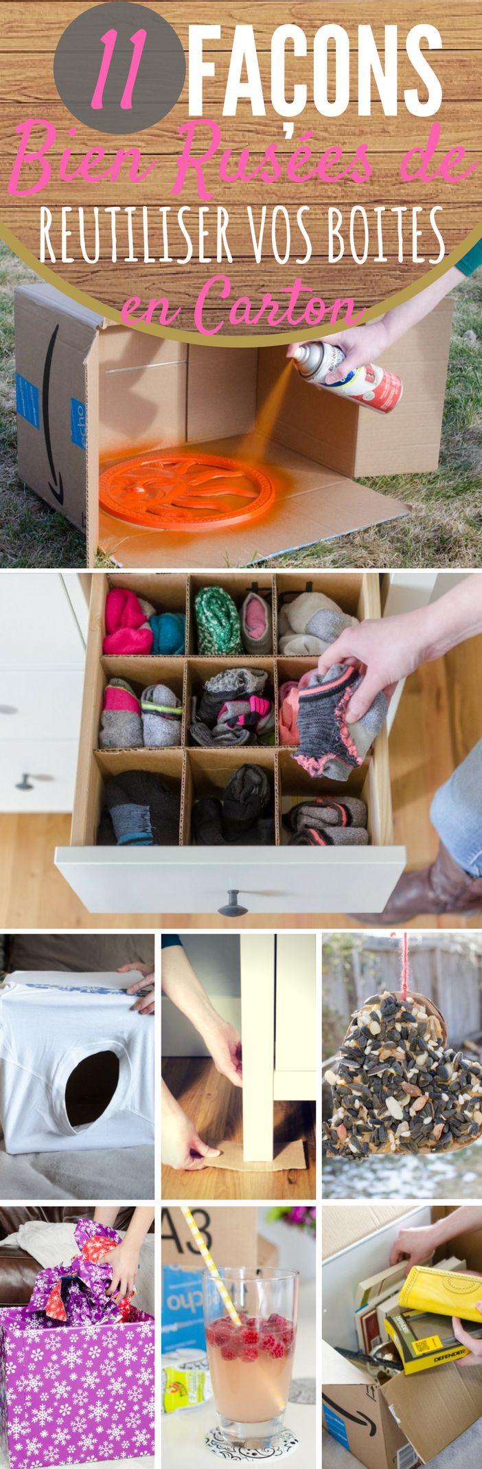 Voici 11 façons bien rusées de réutiliser une boîte en carton. Faites des organisateurs pour vos tiroirs. Vous aurez besoin de cartons...