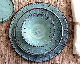 Handmade Dinnerware – Ocean Blue Ombré – Dinner, Salad Plate and Bowl – 3 Piece Set – MADE TO ORDER