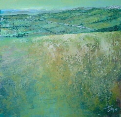 Dalle mie colline   70x50 acrilico su tela Luigi Torre painter 2015