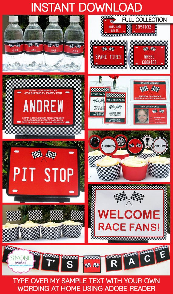 Race Car Birthday Invitation & Party Decorations - full Printable Collection - INSTANT DOWNLOAD with EDITABLE text - you personalize at home