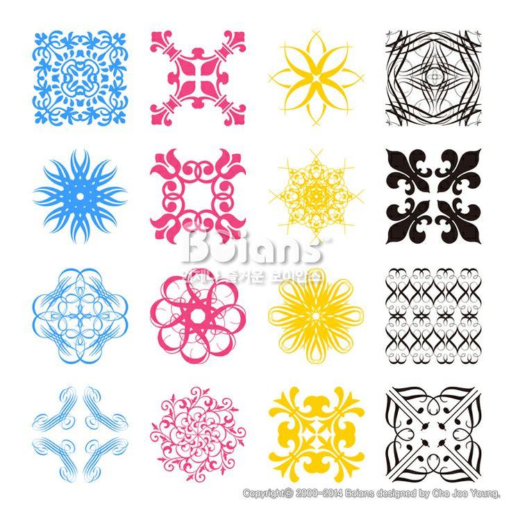 여러가지 스타일의 각진 문양 세트. 오리지널 패턴과 문양 시리즈. (BPTD020201) Diverse styles of square back…