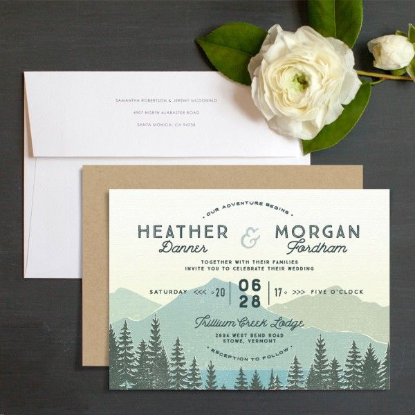 Vintage Mountain Wedding Invitations